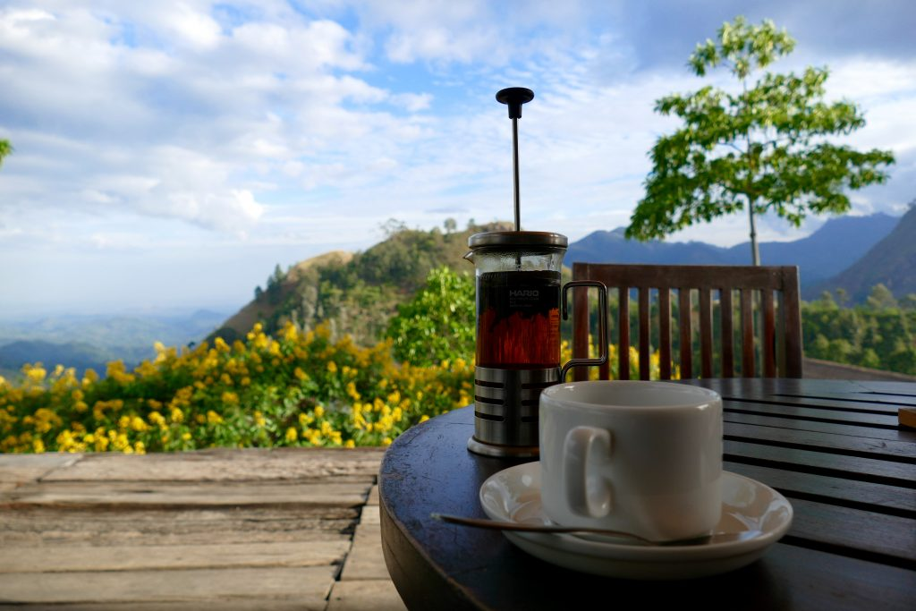 Tea at 98 acres hotel with a view on Little Adam's Peak