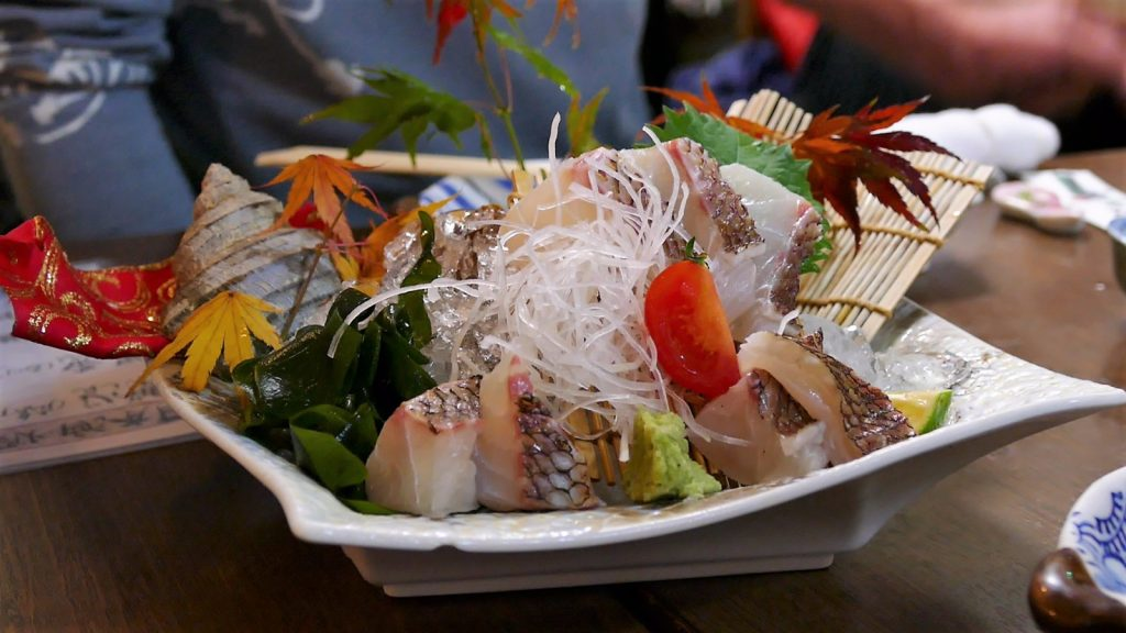 Japan, red snapper sashimi in Onomichi