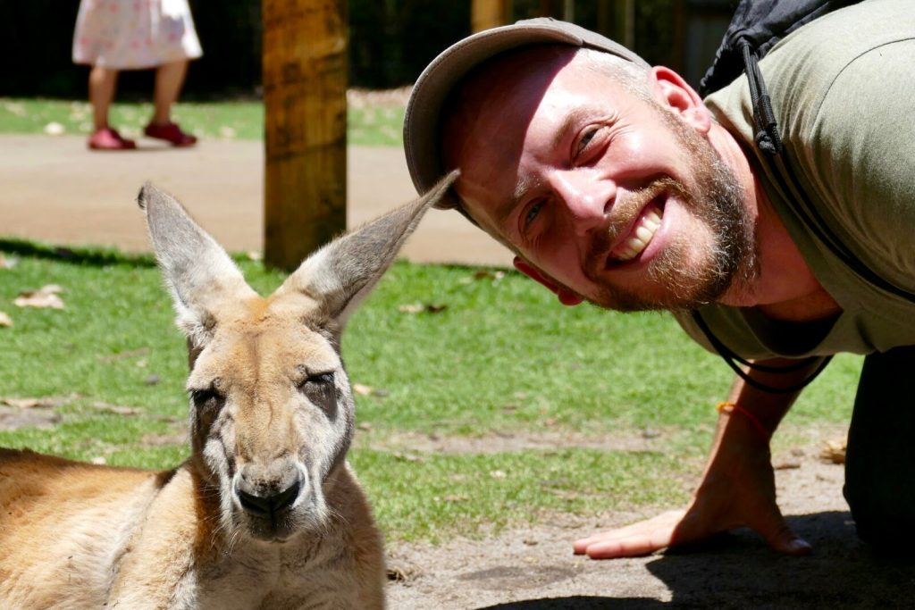 Australia, Daniel and his new friend @ Raversham Wildlife Park